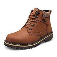 billige Sko i Store Størrelser-Herre-Lær-Flat hæl-Komfort-Støvler-Fritid-Svart Brun