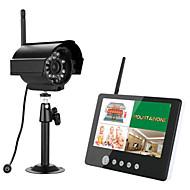 billige Trådløst CCTV System-ennio 7 tommers tft digitale 2,4g trådløse kameraer overvåker 4ch quad dvr sikkerhetssystem med ir nattlys