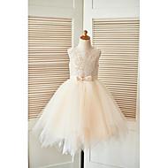 Vestido de menina de flor de joelho com uma linha de joias - laço de tul sem mangas com renda com fita adesiva por thstylee