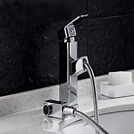 Moderna Conjunto Central Chuveiro Tipo Chuva Válvula Cerâmica Monocomando e Uma Abertura Cromado , Torneira pia do banheiro