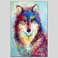 Ručno oslikana Sažetak Životinja Ulje na platnu + Ispis,Moderna Klasika Jedna ploha Platno Hang oslikana uljanim bojama For Početna