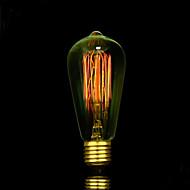 billige Glødelampe-1pc 25W E27 E26/E27 E26 ST58 Varm hvit 2300 K Glødende Vintage Edison lyspære AC85-265 AC 220V AC 85-265V V