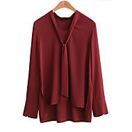 Dámské Jednobarevné Velké velikosti / Běžné/Denní Šik ven / Sofistikované Košile-Podzim / Zima Umělé hedvábí / Polyester Do V Dlouhý rukáv