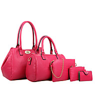 お買い得  特別セール-女性 バッグ オールシーズン 牛側 バッグセット 5個の財布セット のために カジュアル ブラック フクシャ ブルー ワイン