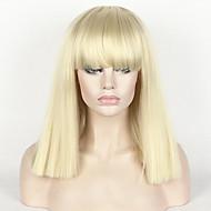 Ženy Střední Bleach Blonde Rovné Rovné, bláznivé Střih Bob S ofinou Umělé vlasy Bez krytky Cosplay paruka Paruka Halloween Karnevalová