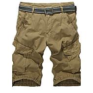 Masculino Tamanhos Grandes Reto Delgado Calças Esportivas Shorts Calças-Cor Única Casual Esportivo Moda de Rua Activo Cintura BaixaZíper