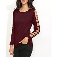 Langærmet Rund hals Dame Sort Ensfarvet Simpel Casual/hverdag T-shirt,Polyester