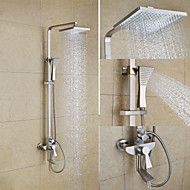 Art Deco/Retro Shower System Rain Shower Ceramic Valve Three Holes Two Handles Three Holes Nickel Brushed , Shower Faucet