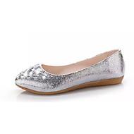 Damen Flache Schuhe Komfort PU Herbst Hochzeit Komfort Glitter Flacher Absatz Gold Silber Flach