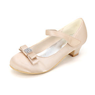 baratos Sapatos de Menina-Para Meninas Sapatos Seda Primavera Verão Sapatos para Daminhas de Honra Saltos Pedrarias / Laço para Rosa claro / Champanhe / Ivory