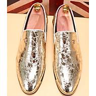 tanie Obuwie męskie-Męskie Buty PU Zima Jesień Comfort Mokasyny i pantofle Szurowane na Casual Gold Black Niebieski
