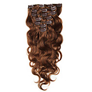 70-100g Clip In Human Hair Extensions Brazilian Virgin Hair Clip in Body Wave Chestnut Brown