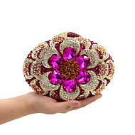 baratos Clutches & Bolsas de Noite-Mulheres Bolsas Metal Bolsa de Festa Cristal / Strass Floral Fúcsia / Rhinestone Crystal Evening Bags / Rhinestone Crystal Evening Bags