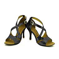 billige Sko til latindans-Kan spesialtilpasses-Dame-Dansesko-Latin Salsa-Glimtende Glitter-Kustomisert hæl-Svart Blå Rød Sølv Gull