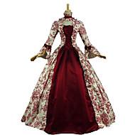 ieftine -Vintage Βικτωριανής Εποχής Rococo Costume Pentru femei Costume petrecere Mascaradă Roșu Vintage Cosplay Dantelă Bumbac Manșon Lung Poet