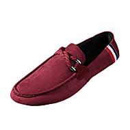 メンズ 靴 繊維 春 秋 コンフォートシューズ 前かがみのブーツ ローファー&スリップアドオン ウォーキング 編み上げ 用途 カジュアル ブラック レッド ブルー