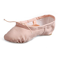 Women's Ballet Canvas Flat Practice Beginner Professional Indoor Performance Flat Heel Black Camel Red Blushing Pink Almond Under 1""
