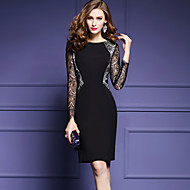 女性 ストリートファッション モダンシティ お出かけ プラスサイズ シース ドレス,パッチワーク ラウンドネック 膝上 長袖 ブラック ポリエステル 春 ミッドライズ マイクロエラスティック ミディアム
