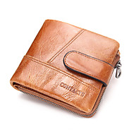 Men Bags Cowhide Wallet for Shopping Casual Sports Outdoor All Seasons Coffee Brown