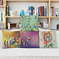 cheap Cushion Sets-4 pcs Linen Pillow Case,Graphic Prints Country Retro Euro