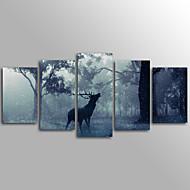 Eläin Moderni,5 paneeli Kanvas Horizontal Painettu Wall Decor For Kodinsisustus