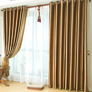 cheap Blackout Curtains-Rod Pocket Grommet Top Tab Top Double Pleat Two Panels Curtain Neoclassical, Embossed Solid Bedroom Polyester Material Blackout Curtains