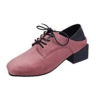 옥스포드-사무실 & 커리어 캐쥬얼-여성-컴포트-가죽-낮은 굽-블랙 그린 핑크