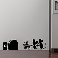 1Pcs 19Cm*4Cm Family Baby Mouse Hole Wall Stickers For Kids Rooms Decals Vinyl Wall Art Decoration Home Vintage Mural Decoration