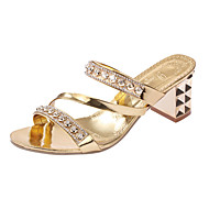 Women's Heels Comfort PU Spring Summer Casual Comfort Rivet Low Heel Gold Silver Under 1in