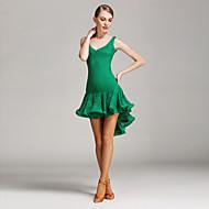 Dança Latina Vestidos Mulheres Apresentação Treino Renda Renda Pano 1 Peça Sem Mangas Natural Vestido