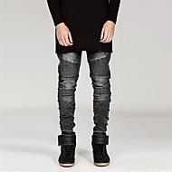 Herre Punk & gotisk Bomuld Tynd Ret Jeans Bukser Ensfarvet