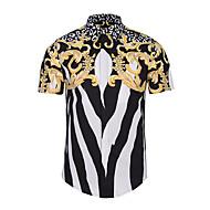 男性用 プリント シャツ ワイドカラー スリム 幾何学模様 / 半袖