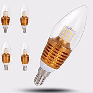 7W E14 LED 캔들 조명 C35 35LED SMD 2835 650 lm 따뜻한 화이트 장식 AC 220-240 V 5개