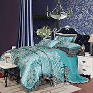 cheap High Quality Duvet Covers-High Quality Queen King Size Bedding Set Luxury Silk Cotton Blend Lace Duvet Cover Sets Jacquard Pattern