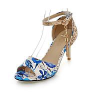 cheap Women's Sandals-Women's Shoes Glitter PU Spring Summer Fall Sandals Stiletto Heel Peep Toe Sequin Tassel Flower for Casual Dress Party & Evening Black