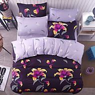 Sengesett Blomster 4 deler Polyester/Bomull Reaktivt Trykk Polyester/Bomull 4stk (1 Dynebetræk, 1 Lagen, 2 Pudebetræk) (Hvis