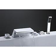 Nykyaikainen Art Deco/Retro Moderni Kolmiosainen Vesiputous Keraaminen venttiili Kolme kahvat viisi reikää Kromi , Ammehana