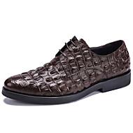 Herre sko Lær Vår Sommer Høst Vinter Bullock sko Oxfords Dyremønster Snøring Til Bryllup Avslappet Fest/aften Svart kaffe Burgunder