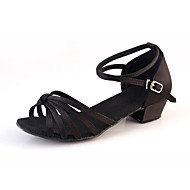 cheap Latin Shoes-Women's Kids' Latin Lace Satin Synthetic Flat Sandal Sneaker Indoor Ribbon Tie Ruched Flower Low Heel Gold Black Silver Almond Leopard