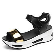 baratos Sapatos Femininos-Mulheres Sapatos Couro Envernizado / Microfibra Primavera / Verão Conforto / Solados com Luzes Sandálias Caminhada Salto Plataforma Ponta