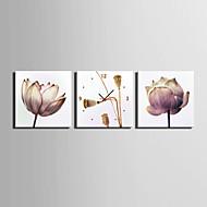 Moderne / Nutidig Blomst / Botanikk Veggklokke,Kvadrat Lerret40 x 40cm(16inchx16inch)x3pcs/ 50 x 50cm(20inchx20inch)x3pcs/ 60 x