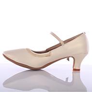 billige Moderne sko-Dame Sko til latindans Kunstlær Hel såle Spenne Kustomisert hæl Kan spesialtilpasses Dansesko Sølv / Brun / Rød / Innendørs