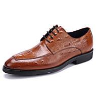 Herre sko Lær Vår Sommer Høst Vinter Bullock sko Oxfords Snøring Til Bryllup Avslappet Fest/aften Svart Brun Burgunder