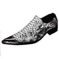 メンズ 靴 レザー 春 夏 秋 冬 コンフォートシューズ アイデア フラット ウォーキング リベット アニマルプリント 用途 結婚式 パーティー ホワイト