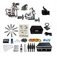 baratos kits profissionais do tatuagem-BaseKey Máquina de tatuagem Kit de tatuagem profissional - 2 pcs máquinas de tatuagem LCD de alimentação Capa Inclusa 2xMáquina Tatuagem de aço para linhas e sombras