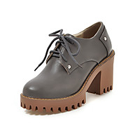 cheap Women's Oxfords-Women's Shoes PU Spring Fall Heels Chunky Heel Block Heel Round Toe Lace-up for Casual Office & Career Dress Black Beige Gray Yellow