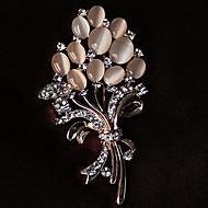 hesapli -Broşlar Yapay Elmas Çiçek Çiçek Stili Çiçekler Yapay Elmas Opal alaşım Çiçek Altın Mücevher Uyumluluk Parti Günlük