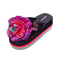 Kadın Terlik & Flip-flop PU Yaz Günlük Çiçekli Düz Topuk Beyaz Siyah Sarı Fuşya Düz