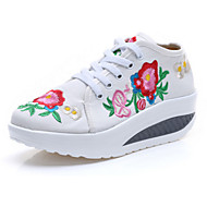 Femme-Extérieure Décontracté Sport-Blanc Bleu-Talon Plat-Confort Nouveauté Chaussures brodées-Mocassins et Chaussons+D6148-Toile