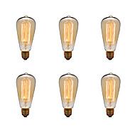 billige Glødelampe-Ecolight™ 6pcs 40 W E26 / E27 ST64 2300 k Glødende Vintage Edison lyspære 220-240 V